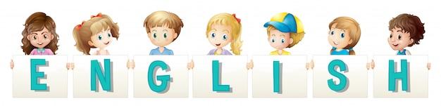 Дети держат wordcard для английского языка
