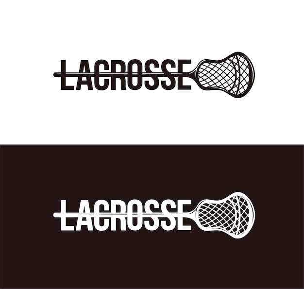 Wordmark lacrosse logo on black and