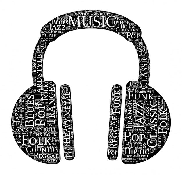 Words cloud of music headphones shape