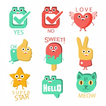 Words and corresponding illustrations, cartoon character items with eyes illustrating the text emoji set.