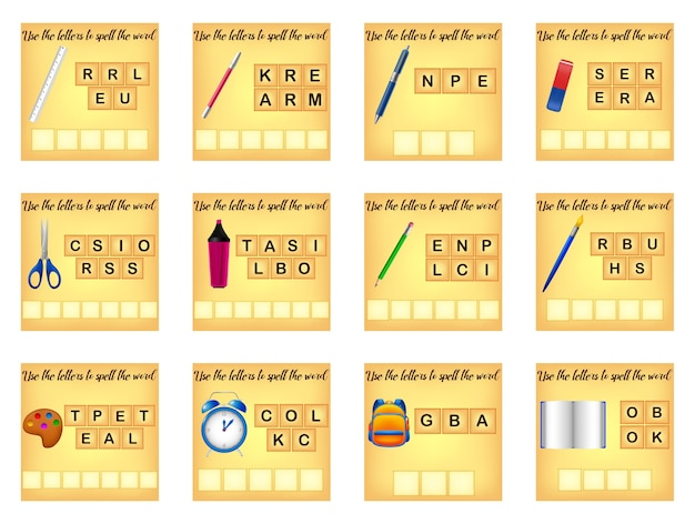 Words educational game for children