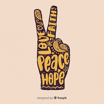 Words hand peace sign background