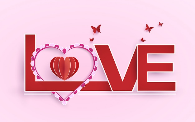 バレンタインデーのための愛と装飾の言葉。紙アートデザイン