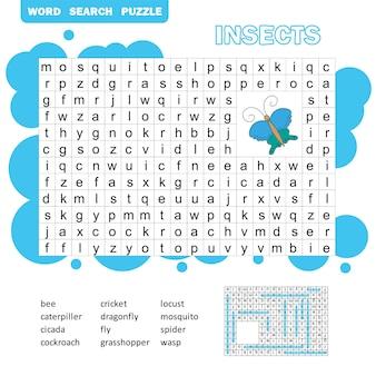 단어 퍼즐 어린이 교육 게임. 어휘 학습. 곤충 단어 찾기 게임.
