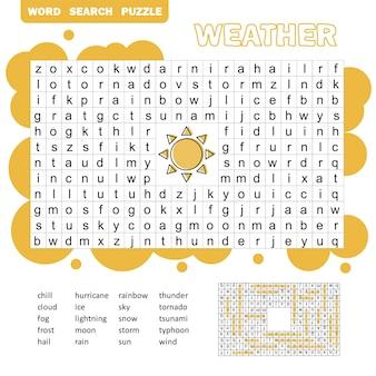 Слова головоломки детей развивающая игра. расположите буквы в правильном порядке. изучение словарного запаса. мультипликационная погода.