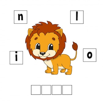Words puzzle worksheet lion