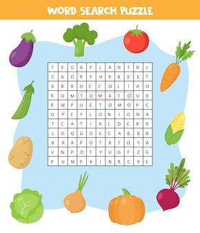 Words search puzzle for children. set of colorful vegetables.