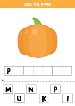 Words spelling game for kids. cute cartoon pumpkin.
