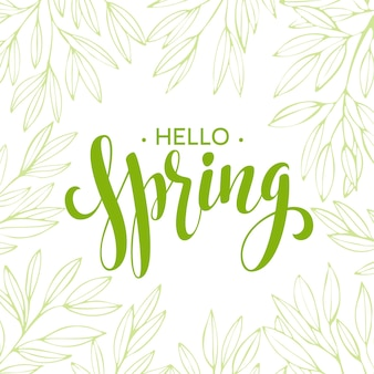 Words spring with wreath, branches,leaves .  illustration