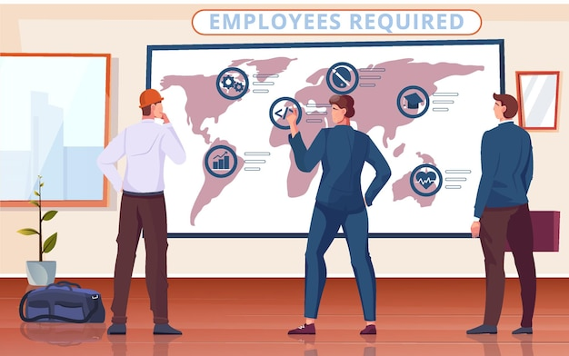 Work abroad composition with indoor office scenery packed things and occupational specialists looking at world map illustration