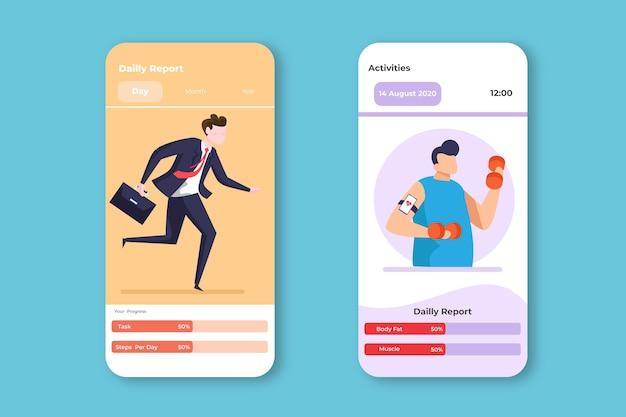 仕事とトレーニングの目標と習慣のモバイル追跡アプリ