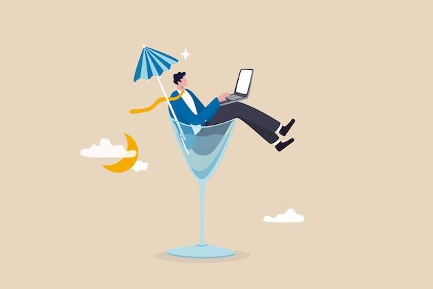 いつでもどこでも仕事をすることができます。ハイブリッドワークや柔軟な時間で、従業員はいつどこで仕事をするかを選択できます。ビジネスマンは、夜にカクテルグラスに入れてコンピューターのラップトップを使ってリモートで仕事をすることができます。