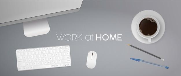 홈 배너에서 작동합니다. 컴퓨터와 평면 위치, 최고보기 사무실 책상. 커피, 연필, 펜, 키보드, 컴퓨터 마우스, 모니터. 현실적