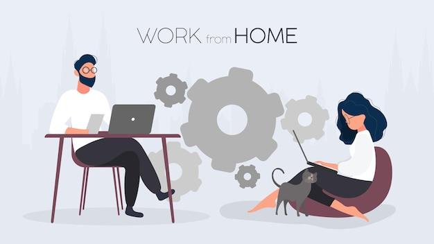 집 배너에서 작동합니다. 소녀는 큰 pouf에 앉아 노트북에서 작동합니다. 그 남자는 컴퓨터 작업을 하는 테이블에 앉는다. 벡터.