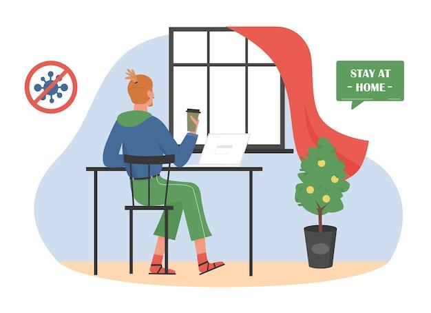 Работа дома, мультфильм работник фрилансер, сидя в интерьере комнаты домашнего офиса, работая с ноутбуком