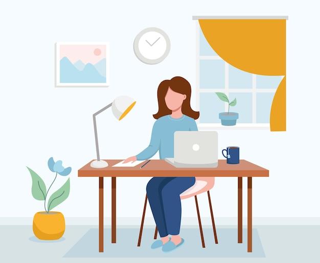 집에서 일하는 컨셉 디자인 프리랜서 여성은 집에서 옷을 입고 노트북 작업을 하고 있습니다.