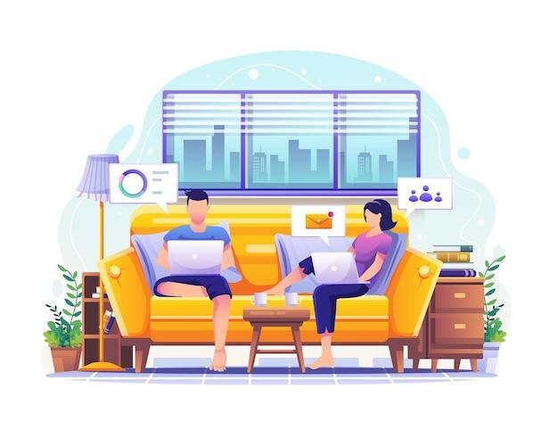 집에서 일하는 컨셉 디자인 남자와 여자는 집에서 노트북과 컴퓨터 작업을 합니다.
