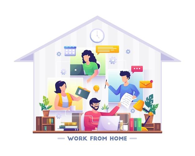 집에서 일하는 개념 디자인 사람들은 집에서 일하는 노트북에서 원격으로 작업합니다. 벡터 일러스트레이션