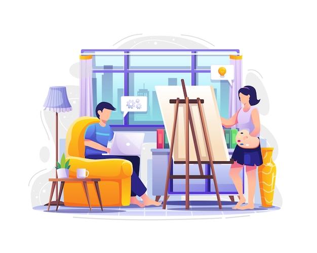 랩톱에서 작업하고 그림 벡터 일러스트레이션 작업을 하는 가정 개념의 사람들