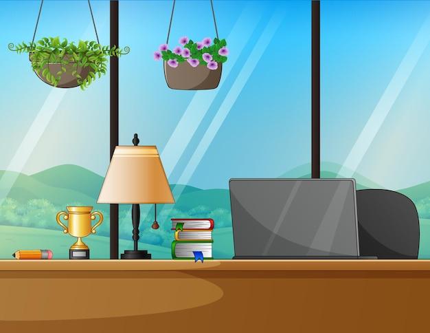 Концепция работы на дому рабочее место со столом и компьютером