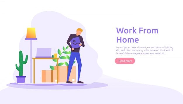 在宅勤務、コワーキングスペースのコンセプトデザイン。フリーランスのデスクに座って、家のラップトップでウェブランディングページの人々のキャラクターと一緒に作業