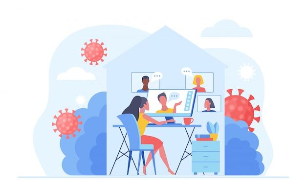 바이러스 감염을 예방하기 위해 covid-19 검역소 바이러스 동안 집에서 일하십시오. 온라인으로 일하는 사람들, 화상 회의 회의 및 집에서 채팅. 사회적 거리 개념 그림입니다.