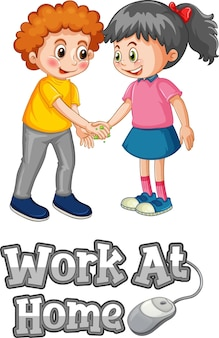 2人の子供と漫画スタイルのホームフォントで作業は、白い背景で孤立した社会的距離を維持しません