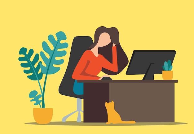Работа на дому внештатная девушка, работающая на компьютере. векторная иллюстрация.