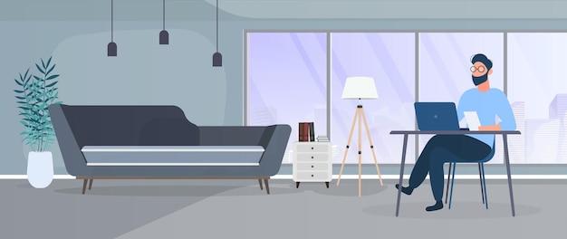 노트북 그림에서 일하는 집에서 일하는 사람