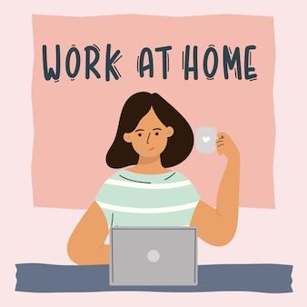 집에서 일하는 손으로 그린 디자인 포스터