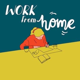 自宅で働く手描きデザインポスター