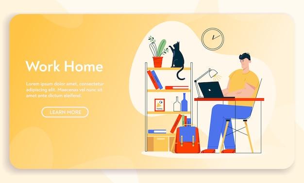 Работа на дому. человек удаленного работника сидит за столом, работая на компьтер-книжке. дизайн интерьера домашнего офиса, удобное рабочее место