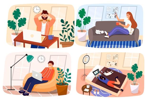 집에서 일하십시오. 집에서. 남성과 여성은 온라인으로 소통합니다. 격리 기간 동안 가족과 소통하십시오. 평면 현대적인 스타일의 그림입니다.