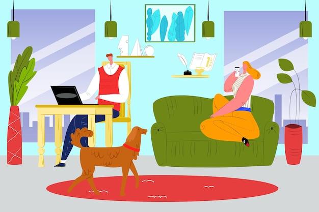 집, 벡터 일러스트 레이 션에서 작동합니다. 플랫 비즈니스 남자 캐릭터는 방에서 노트북 컴퓨터를 사용하고, 여자 아내는 소파에 앉아 있습니다. 개 애완 동물이 있는 아파트 내부의 프리랜서 직장.