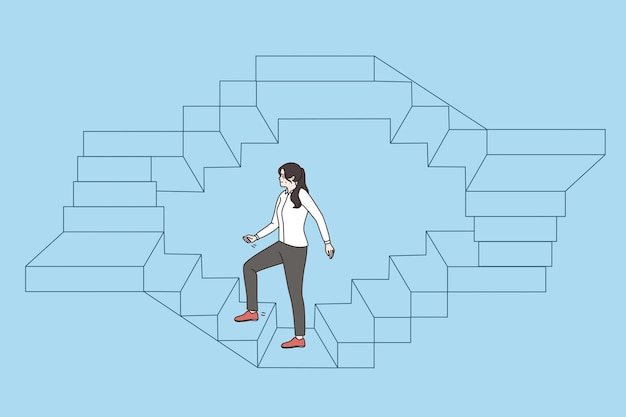 Work, career and success business concept. young business woman walking up endless stairs on circle vector illustration over blue background