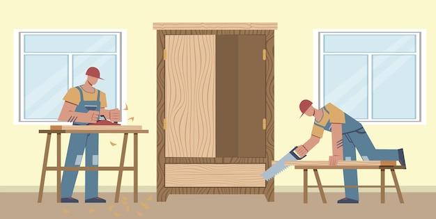 작업 목수. 두 명의 작업자가 판자를 톱질하고, 나무 캐비닛, 주택 개조 및 목공, 집 수리, 수리공 플랫 벡터 만화 남성 캐릭터에서 일합니다.