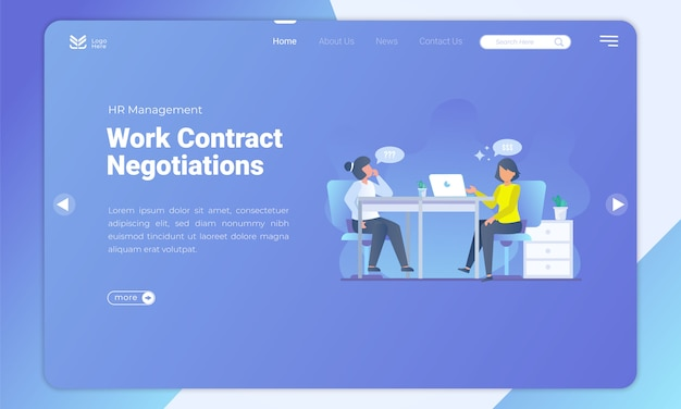 Work contract negotiations on landing page template