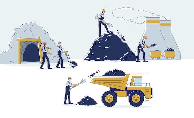 作業員は手段によって石炭を一緒に採掘している