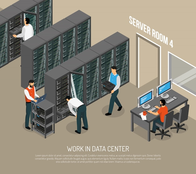 Work in data center isometric illustration