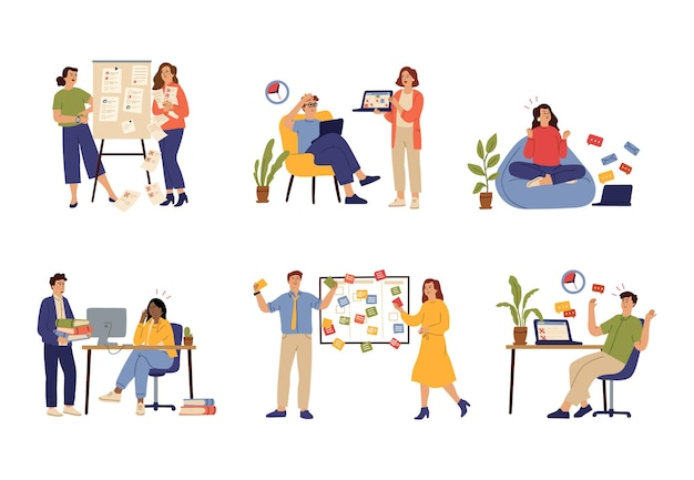 Work deadline. corporate working, job problems or time management failure. people tired and fail discipline vector concept. management time, multitasking and productivity illustration