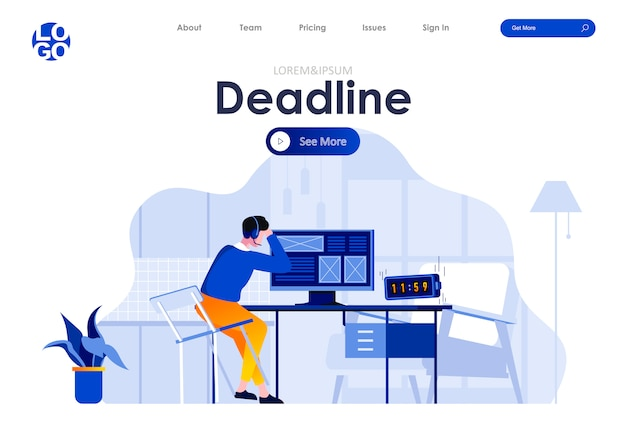Work deadline flat landing page design web template