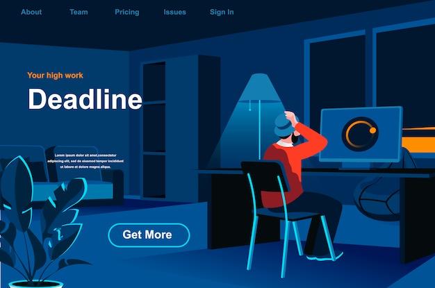 Work deadline isometric landing page.