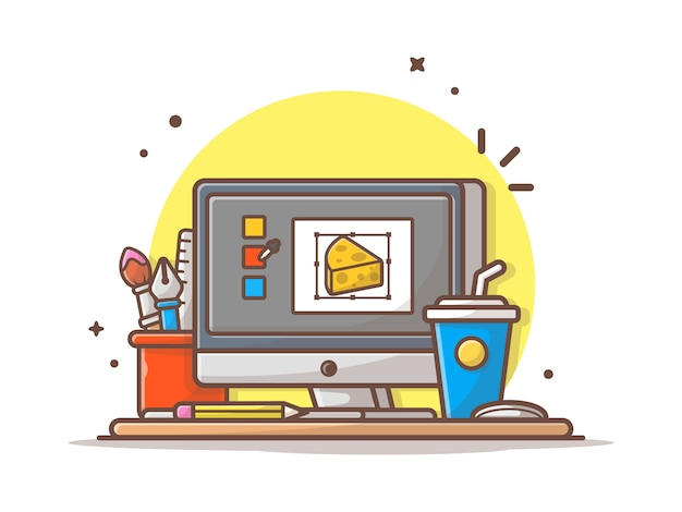 Work desk designer vector icon illustration. monitor and stationary, coffee, technology icon concept