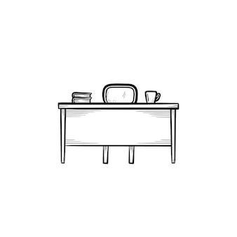 Рабочий стол рисованной наброски каракули значок. офисный стол с иллюстрацией эскиза вектора стула для печати, интернета, мобильных устройств и инфографики, изолированных на белом фоне.