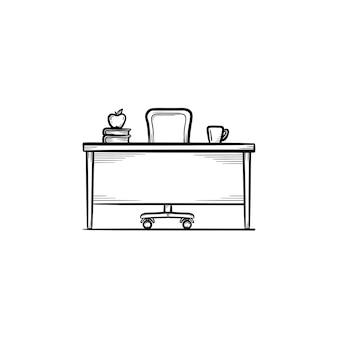 작업 책상 손으로 그려진된 개요 낙서 아이콘입니다. 인쇄, 웹, 모바일 및 흰색 배경에 고립 된 infographics에 대 한 학생 또는 교사 작업 책상 벡터 스케치 그림.