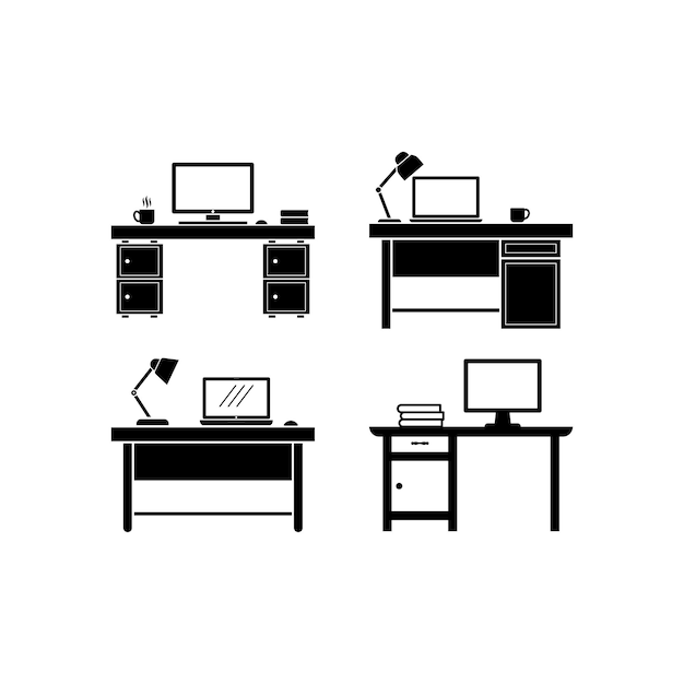 Рабочий стол набор иконок дизайн шаблона