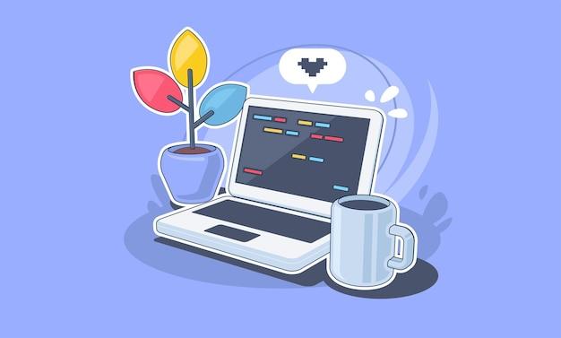 노트북과 작업 책상 집에서 작업 프리랜서 소프트웨어 개발 개념 그림