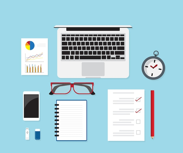 Work desk with office supplies vector illustration