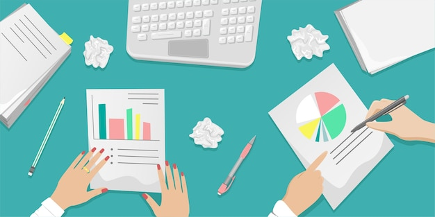 Рабочий стол с совместной работой над документами. стопки бумаг, документов. концепция офиса. иллюстрации шаржа.