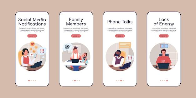 Work distractions onboarding mobile app screen flat vector template